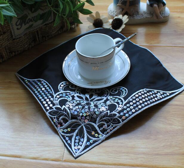 Just Hot Lace Sequin Place Table Mat Cloth Pad Embroidery Cup Mug Dish Pan Doily Drink Tea Coffee Coaster Christmas Placemat Kitchen Kitchen,dining & Bar