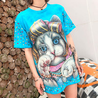 European station tide brand 2019 spring and summer new Thai printing cat handmade sequined cotton pullover top T