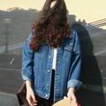 Bf Ветер Осенью И Зимой Женщины Джинсовая Куртка 2016 Vintage Harajuku Завышение Свободные Женские Джинсы Пальто Твердые Тонкий Куртки Mujer