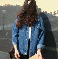 Bf Wind Autumn And Winter Women Denim Jacket 2015 Vintage Harajuku Oversize Loose Female Jeans Coat