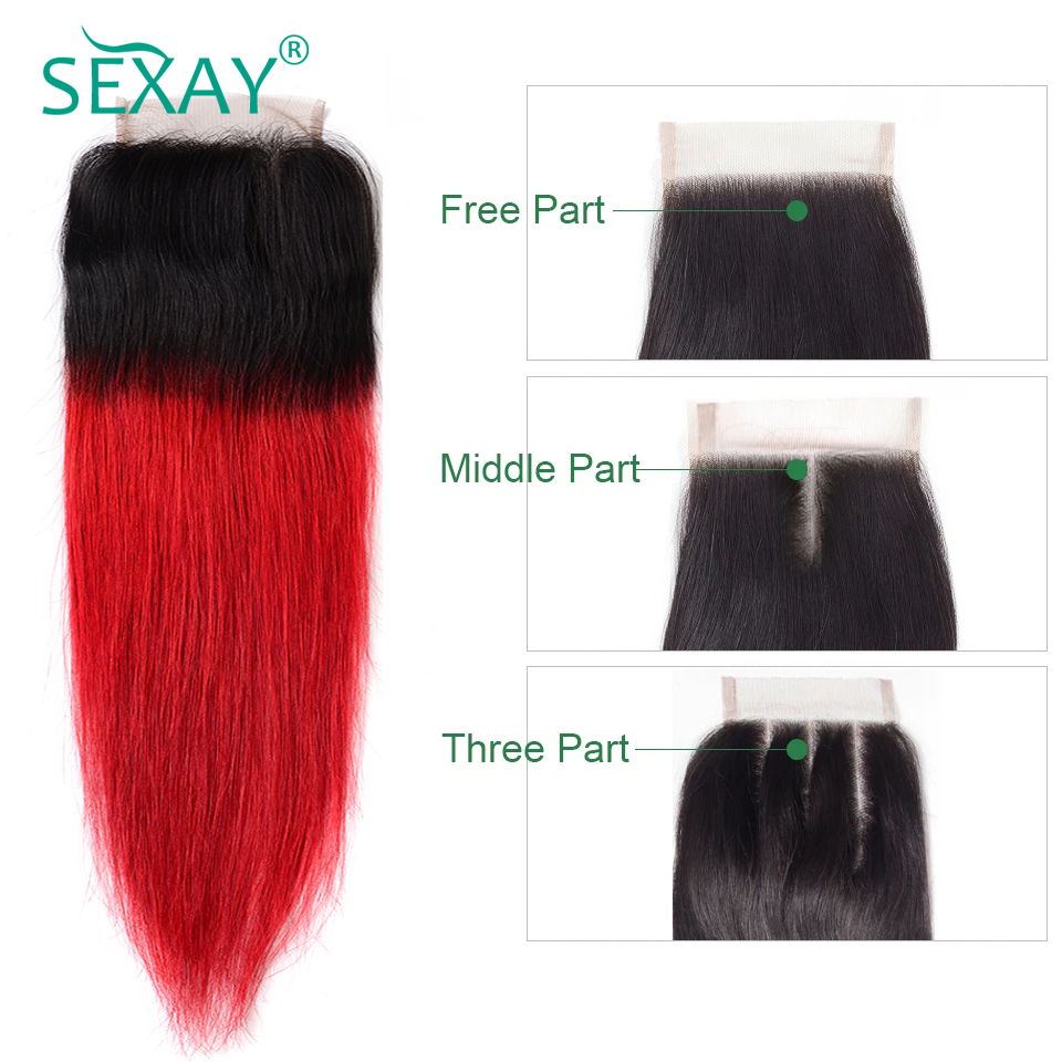 Sexay Ombre Red Human Hair Lace Closures Pre-colored Non-Remy Hair 1B/Red Brazilian Straight Hair 4x4 Closures With Baby Hair
