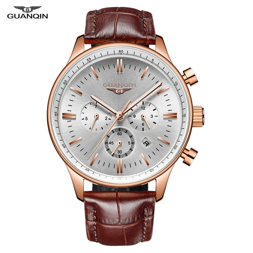 GUANQIN Mens Watches Multifunctional Mechanical Automatic Watch Chronograph Stainless Steel Waterproof Luminous Sapphire Clock dom multifunctional mens watches luminous steel sheet timep waterproof sports casual male watch m510