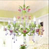 Green Korean Style Living Room Dining Room Lighting Iron Rose Grass Pendant Lights Lamp Bedroom Lamp