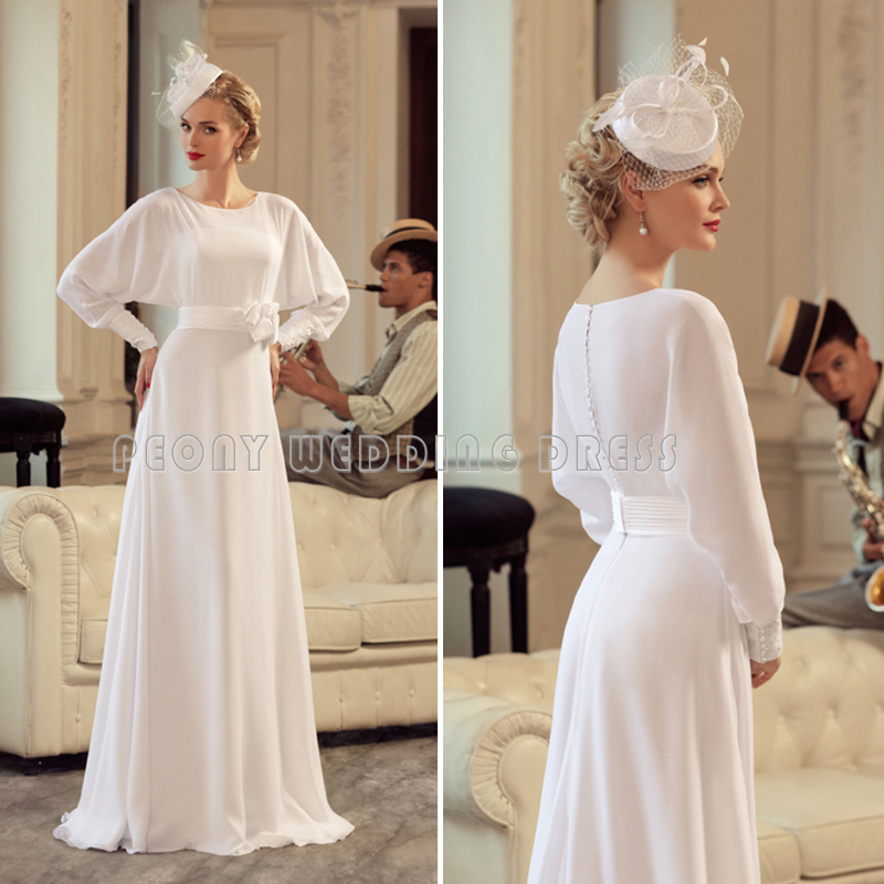 Simple A Line Long Sleeve Wedding Dress Elegant 2016: Vintage Simple Chiffon Wedding Dress 2016 Batwing Long