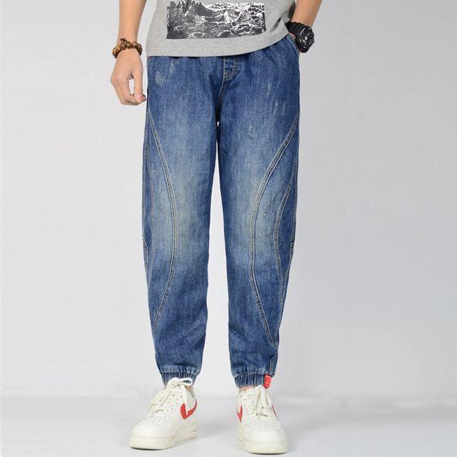 Men's blue Jeans Loose Hip Hop Baggy Jeans Herren Cotton Stretchy Plus Size Jogger Korean Jeans Hombre Denim Pants M-4XL