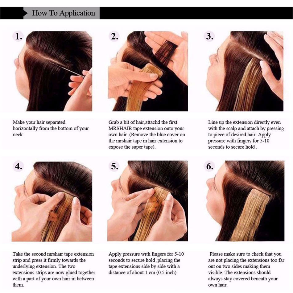 Mrshair tape in human hair extensions non remy 16 18 20 22 24 color pmusecretfo Images