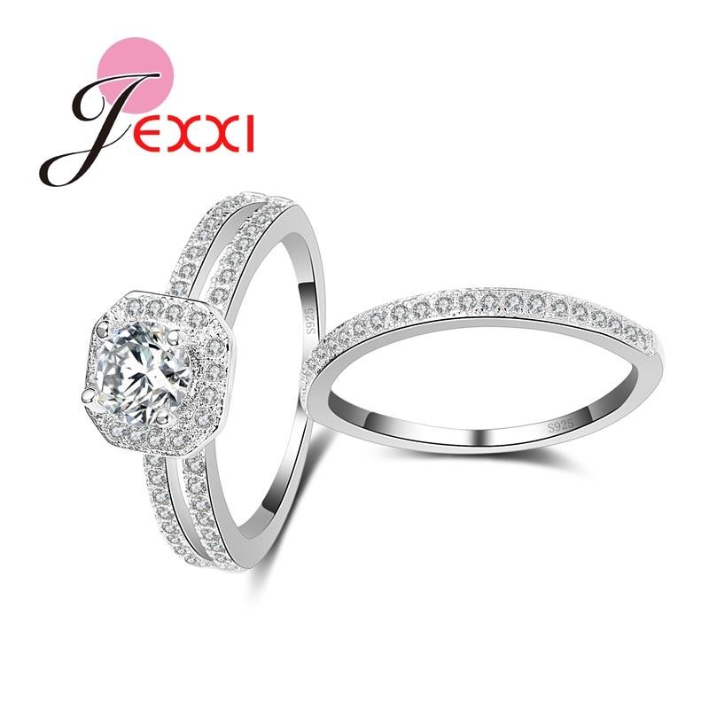 JEXXI 925 серебро обручальные кольца набор для Для женщин мода кубического циркония невесты обещание палец кольцо наборы для Обручение подарок