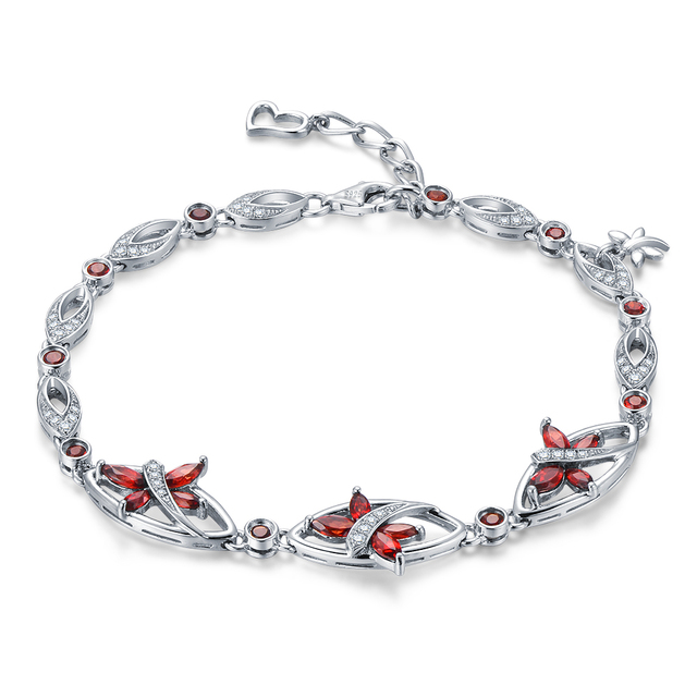 7.0ct Natural Red Garnet Stone Sterling Silver Flying With Butterfly Bracelet