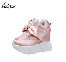 2017 Fashion Sweet bowknot Casual Shoes Women's Shoes Increases Women's Shoes Network Air Wedge Airplane Shoes 10cm Platform