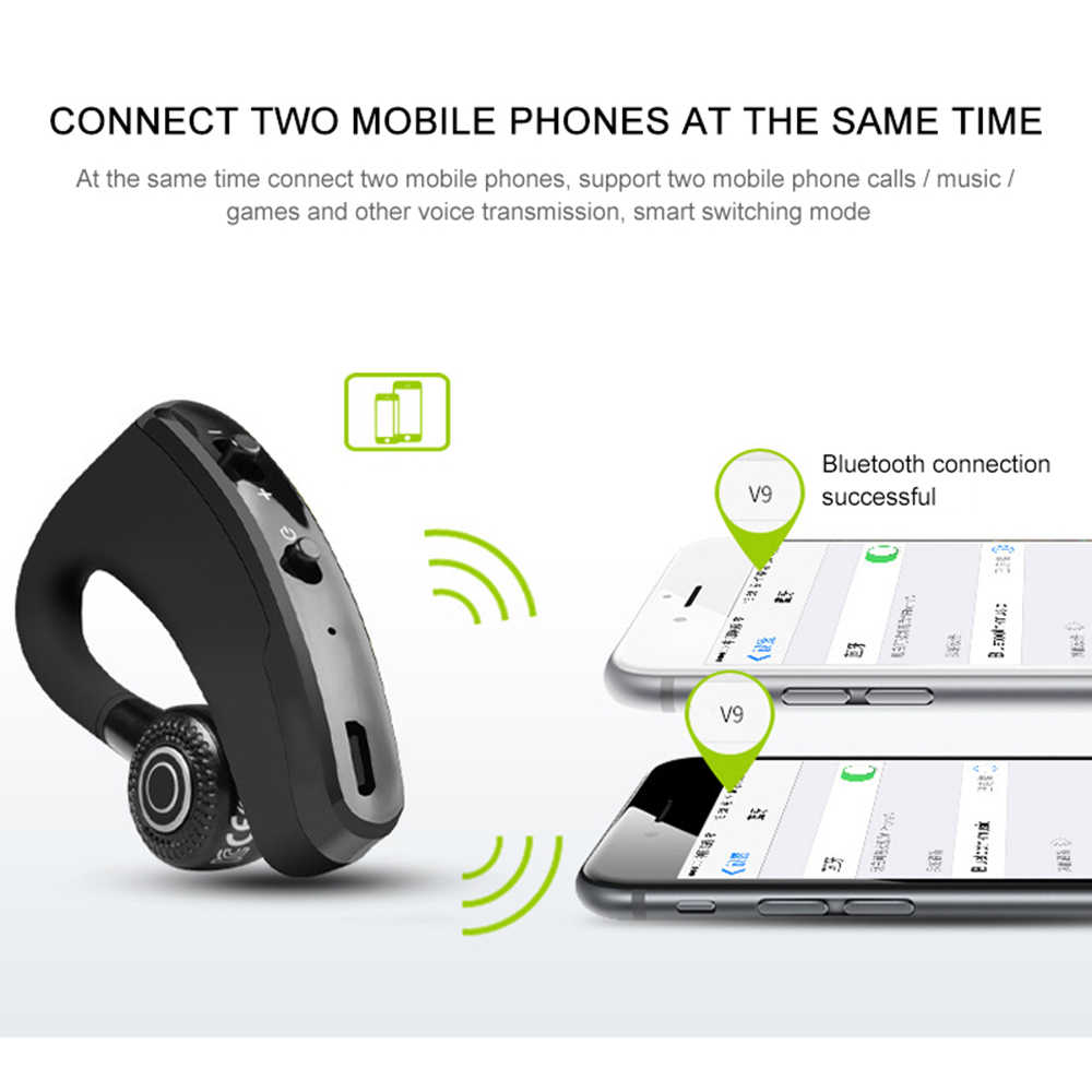 a4204dc797b ... New V9 Handsfree Wireless Bluetooth Earphones Noise Control Business  Wireless Bluetooth Headset with Mic for Driver
