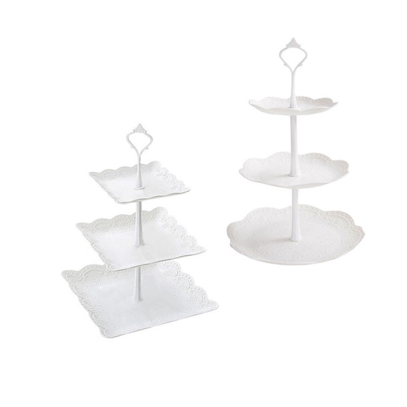 Image 5 - 2019 Cupcake Stand Square Round Wedding Birthday Cake Display Tower 3 Tier-in Storage Trays from Home & Garden