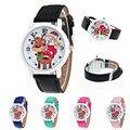 Nueva Casual Reloj Reloj de Las Mujeres de Edad Avanzada de Navidad Patrón Banda de Cuero Reloj de Cuarzo Analógico relojes Para Niños Feida