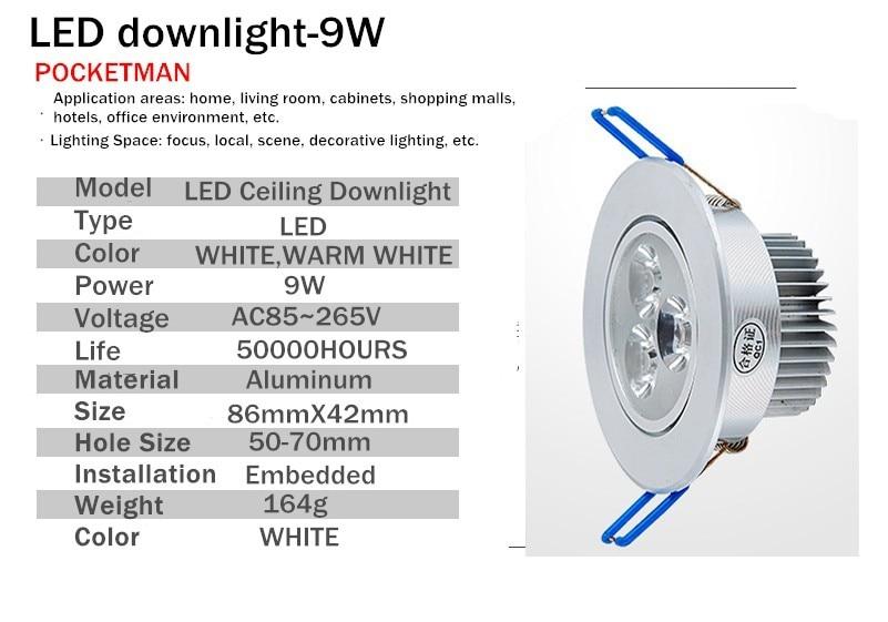 Downlights 10 pçs/lote 9 w ac85v-265v Tipo de Ítem : Downlights