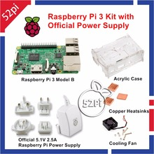 Raspberry Pi 3 Kit with Official Raspberry Pi Power Supply AU/US/EU/UK Plug + Acrylic Case with Cooling Fan + Cooper Heatsinks