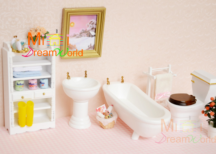1 12 Cute Mini Dollhouse Miniature Furniture Accessories Dollhouse Bathroom Bathroom Sets In