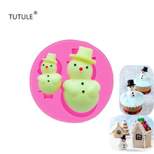 Gadgets-Snowman Mold Polymer Clay Resin Fondant Silicone Mould-Cake Tool Chocolate Candy DIY CupcakeTopper Sugar Molds