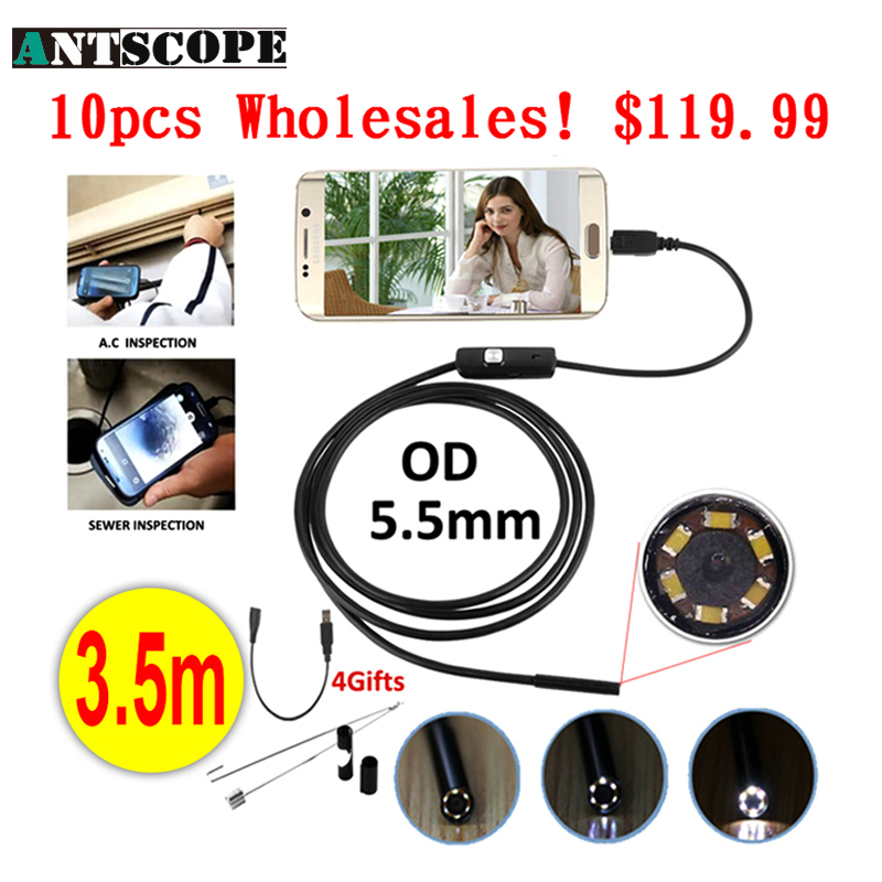 Antscope Wholesale 10pcs Endoskop 5.5mm Micro USB Android Endoscope Camera 3.5M Pipe Inspection OTG USB Android Phone Borescope mini camera endoscope 2in1 android usb camera 2m 5m 8mm hd tube pipe waterproof phone pc usb endoskop inspection borescope otg