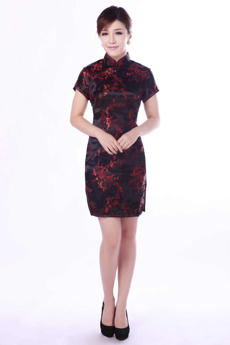 Ucuz cheongsam siyah oryantal shanghai tang elbise geleneksel çince giyim desenleri modern qipao elbise kırmızı cheongsam ipek