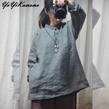 YoYiKamomo camisa de lino de algodón Mujer 2018 primavera otoño Original  botón Placa de manga larga Vintage Color sólido blusas . 374d7a8c0c64