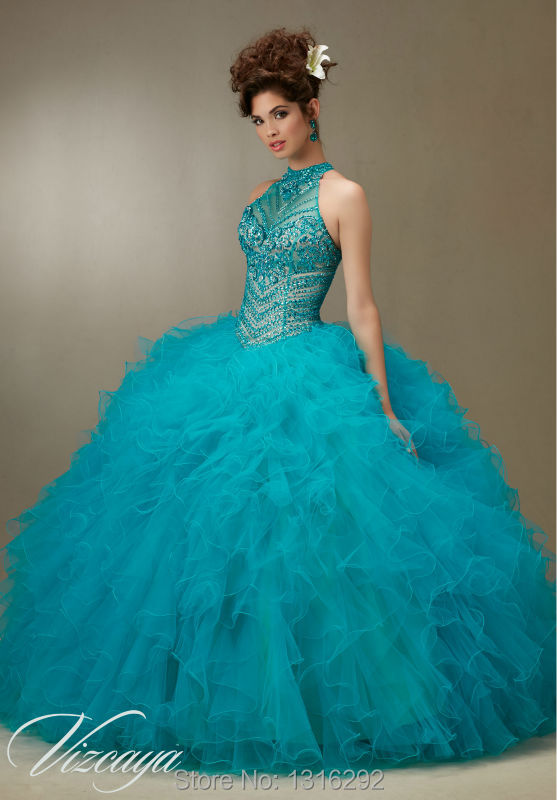 b3c18a3619 Red Quinceanera Dresses 2015 Crystal Beaded Halter Top Organza Ruffles Ball  Gowns Dresses Vestidos De 15-in Quinceanera Dresses from Weddings   Events  on ...