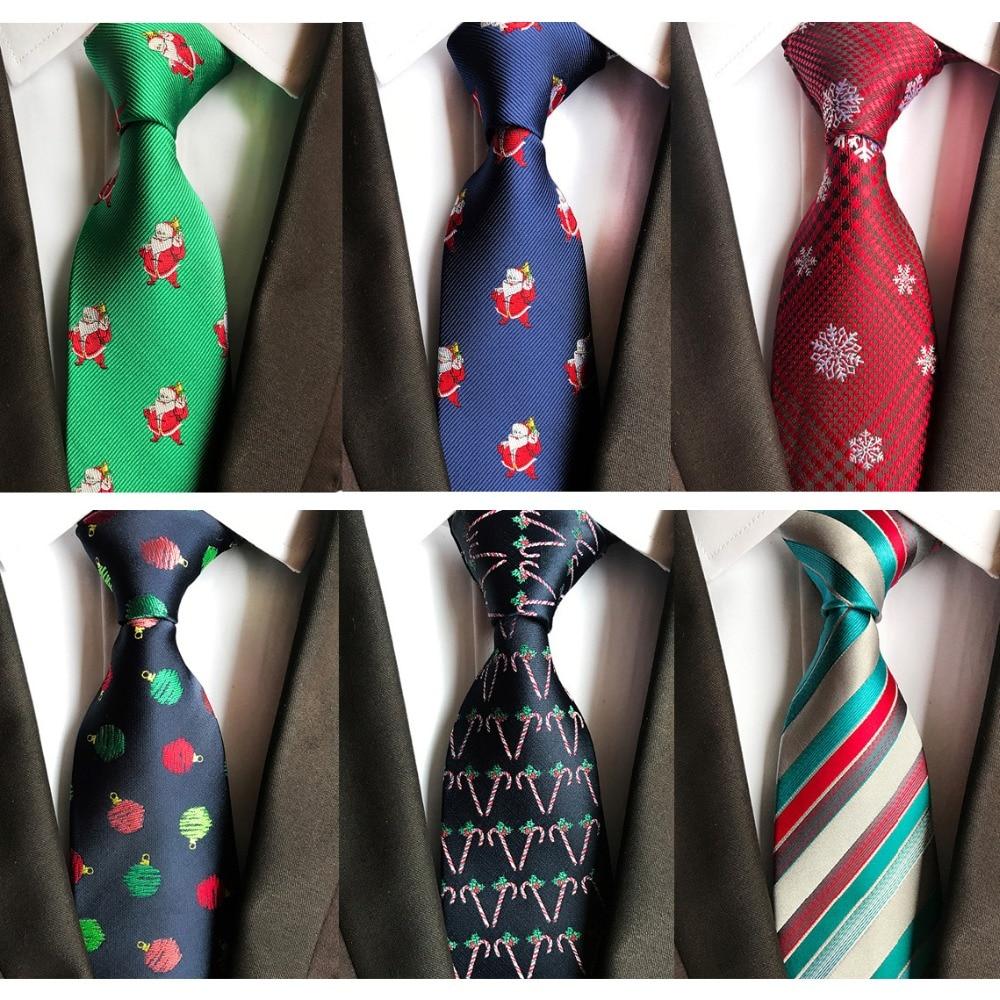 Ricnais 8cm Mens Christmas Tie Tree Animal Prinetd Necktie Jacquard Weave Corbatas Vestidos Snowmen Pattern Cravat Neck Ties