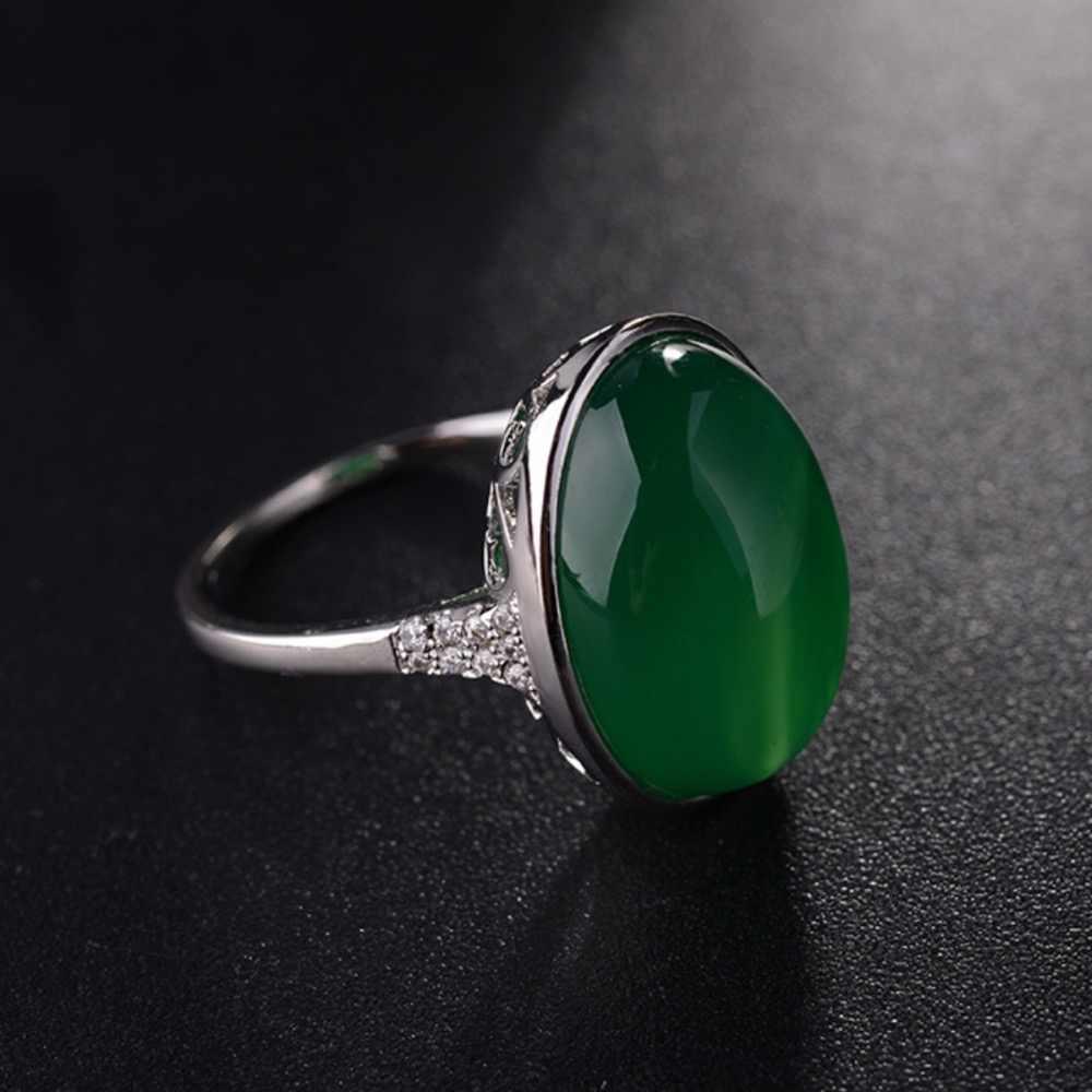 Лидер продаж Новый-Бесплатная доставка Ретро выдолбленные натуральный зеленый нефрит камень аметисты половина Jewel кольцо