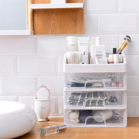 Desktop Cosmetics Stationery Storage Drawer Cabinet Jewelry Storage Box 3 Layers Bathroom Plastic Storage Box