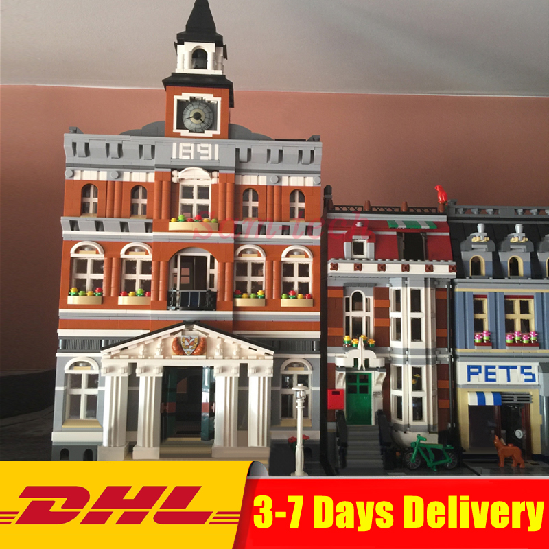 DHL Lepin Clone 10224 10218 City Street Series 15003+15009 Building Blocks Bricks Model Toys For Children Birthday Gifts lepin 15003 town hall lepin 15009 pet shop supermarket city street model building blocks bricks lgoings toys clone 10224 10218