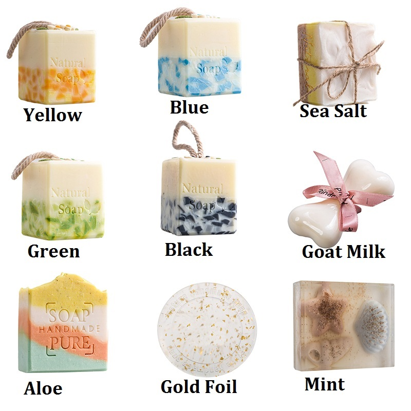 1pc Natural Handmade Soap Anti Fungus Handmade Soap Skin Bath Whitening Moisturizing Face Cleaning Wash Hair Soap Wedding Gifts