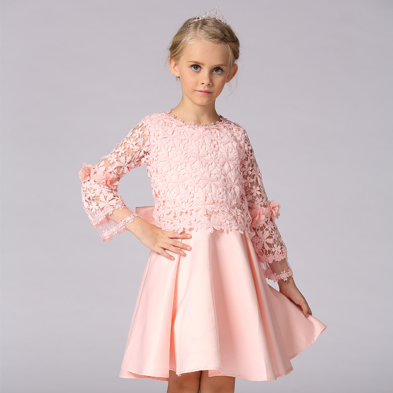Wholesale Delicate Lace Floral   Dress   Communion   Dresses   For Kids   Girls     Flower     Girl     Dresses   Free DHL L-92