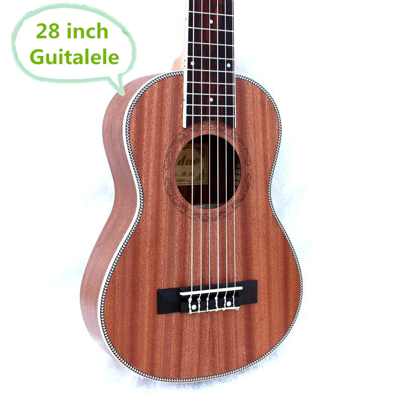 Guitalele Ukulele 28 Inch Hawaiian Mini Guitar 6 Strings Ukelele Guitarra Handcraft Wood Picea Asperata Mahogany  Musical Uke concert ukulele 23 inch hawaiian guitar 4 strings ukelele guitarra handcraft zebra wood musical instruments uke