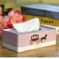 Zakka Wind Pink Princess Carriage Rectangle Tissue Box Towel Tin Box