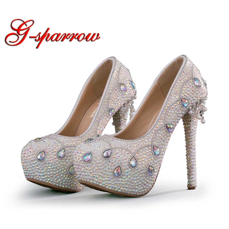 819ba6d1fcb2 Colorful Rhinestone Bridal Wedding Shoes White Crystal Bride Wedding  Ceremony Formal Dress Shoes High Heel Party Prom Pumps