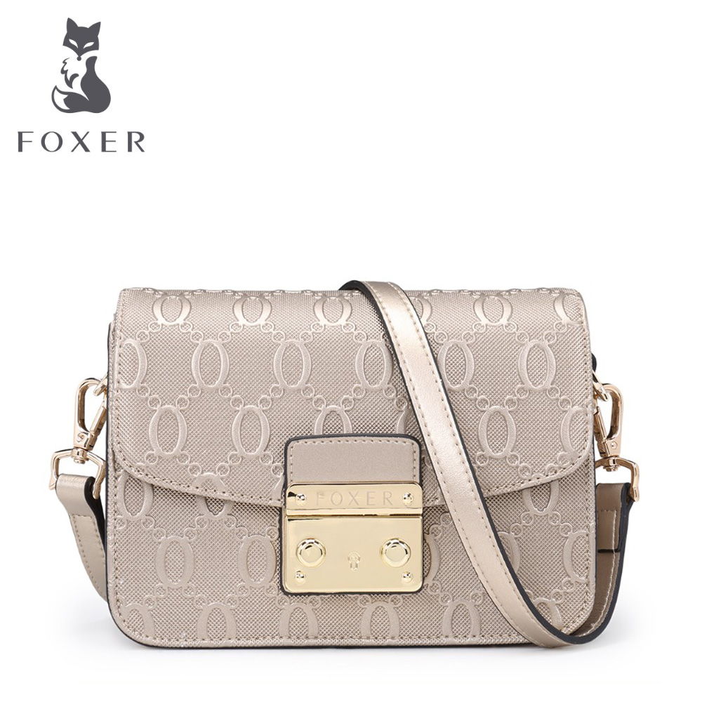 FOXER Brand 2017 Women's Leather Messenger Bag High Quality Girl Snap Crossbody Bags for women Female Shoulder bags 5pcs lot high quality 2 pin snap in on off position snap boat button switch 12v 110v 250v t1405 p0 5