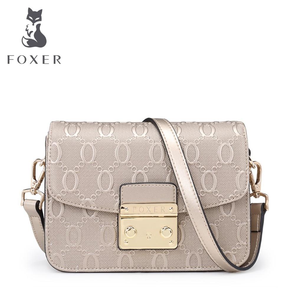 FOXER Brand High Quality Summer Women s font b Leather b font Messenger bag Snap Fastener