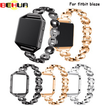 For Fitbit Blaze Bands Metal watch Bands With Rhinestone Stainless Steel Replacement Accessory Bracelet Silver Rose Gold Black watchbands stainless steel strap bands bracelet black silver gold with tool for fitbit alta blaze tracker smart wristband