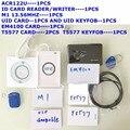 NFC ACR122U 13.56 MHZ CARTÃO RFID e Leitor de Cartão de 125 KHZ ID & escritor programador clone uid mutável M1 Cartão EM4100 Rfid t5577 de crack