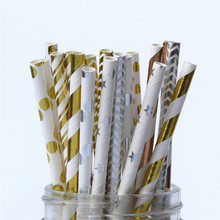 Durable Foil Striped Paper Straws
