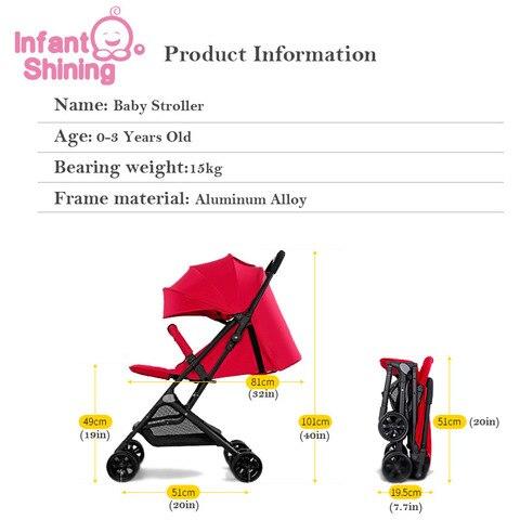 Infant Shining Baby Stroller 5.2kg Folding Baby Carriage 0-3Y  Lightweight Pram High Landscape Prams For Newborns Travel Multan