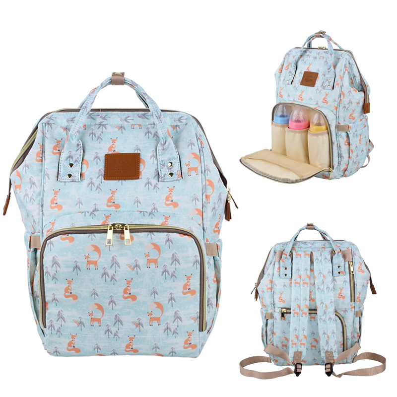 Brand Design Mummy Bags Fashion Fox Printed Travel Backpack Large Cartoon Maternity Diaper Bags Nursing Bag For Baby Care