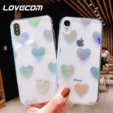 bfbaab5bcd LOVECOM Holographic Laser Colorful Hearts Love Transparent Clear Phone Case  For iPhone 6 7 8 Plus X XS MAX Soft Case Love Cover