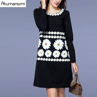 Autumn Winter Dress Daisy Print O Neck Full Sleeve Women S Clothes Spring Dress High Quality