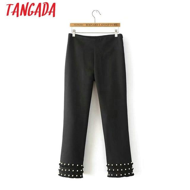 57df19f68730 Tangada Korean Fashion Pearl Tassel Pants Female Bottom Work Pants Black  Ladies Vintage Casual Trousers Women