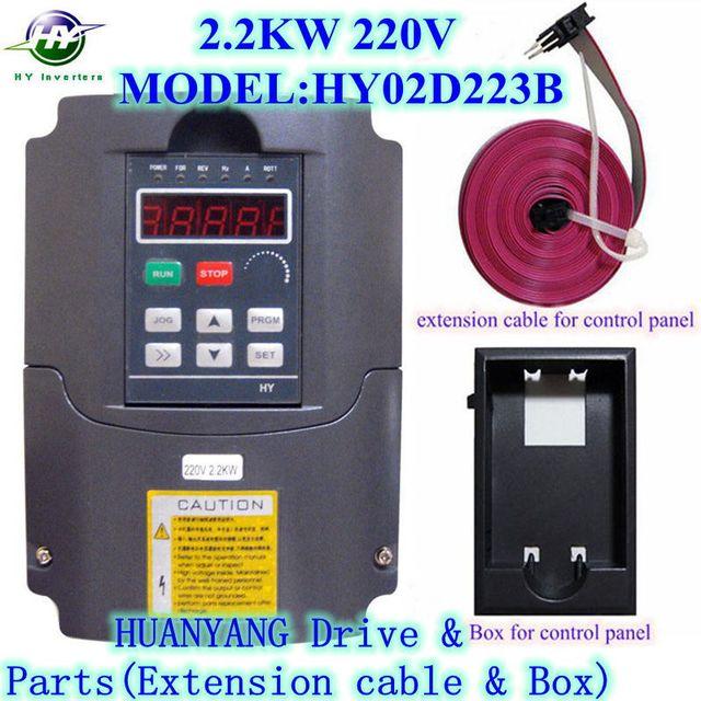 Vfd onduleurs 2.2 KW 220 V 2200 watt 3HP variateurs de fréquence capacité 4KVA 0 - 400 Hz & extension cable / panneau de contrôle boîte