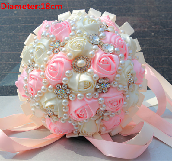 Top quality artificial flowers pink cream wedding bouquet handmade top quality artificial flowers pink cream wedding bouquet handmade bridal flower wedding bouquets with diamond pearl flower rose in artificial dried mightylinksfo