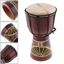 6 дюймов Профессиональный Африканский Djembe барабан Классическая живопись дерево козья кожа хороший звук музыкальный инструмент