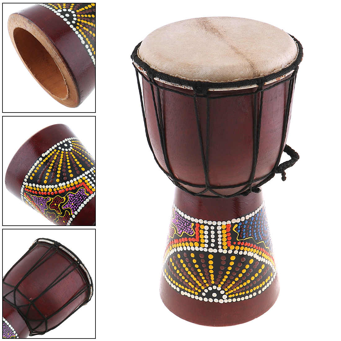 6 Inch Professional African Djembe Drum Classic Painting Wood Goat Skin Good Sound Musical Instrument
