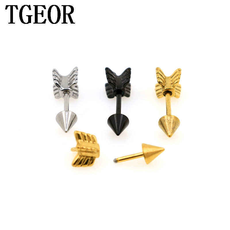 new arrival mixed  colors 1 Pair 16G surgical Stainless Steel arrow shape ear tragus piercing fake taper