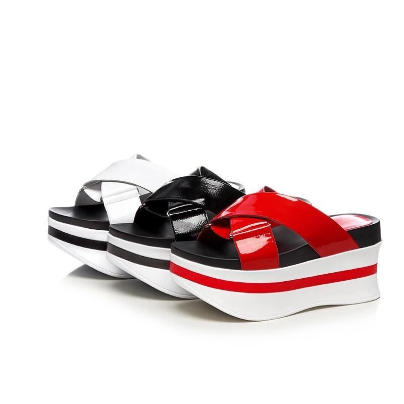 Cuir Spectacle blanc Véritable Fond Toe Noir D'été Sur En Talons Mince Slip rouge Haute Lenkisen Sandales L60 Slingback Peep Gladiateur Chaussures Épais Femmes AwtgFqpFxB