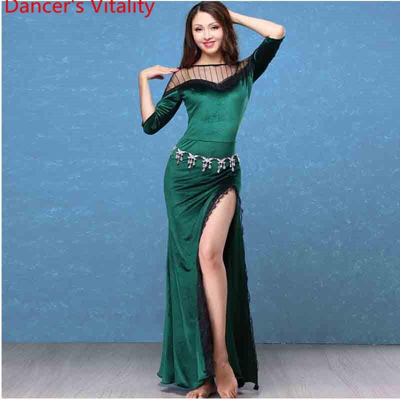 Hiver nouveau ventre Oriental indien danse Costume velours épissage Sexy Split robe femme dame filles compétition Performance vêtements